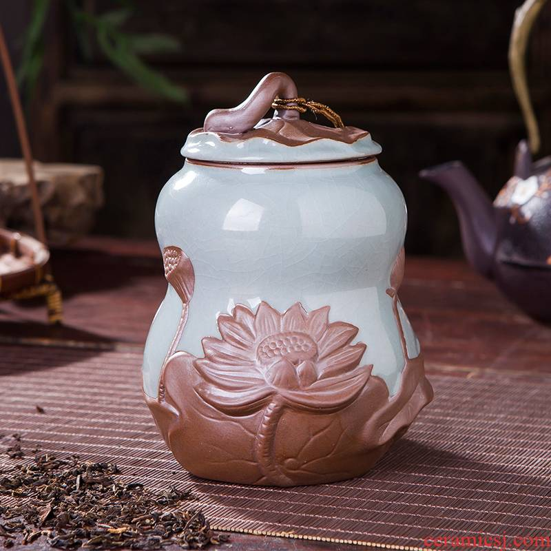 Pu 'er tea canister ceramics your up sealing tank storage jar large ice cracked POTS restoring ancient ways embossed lotus tea sets