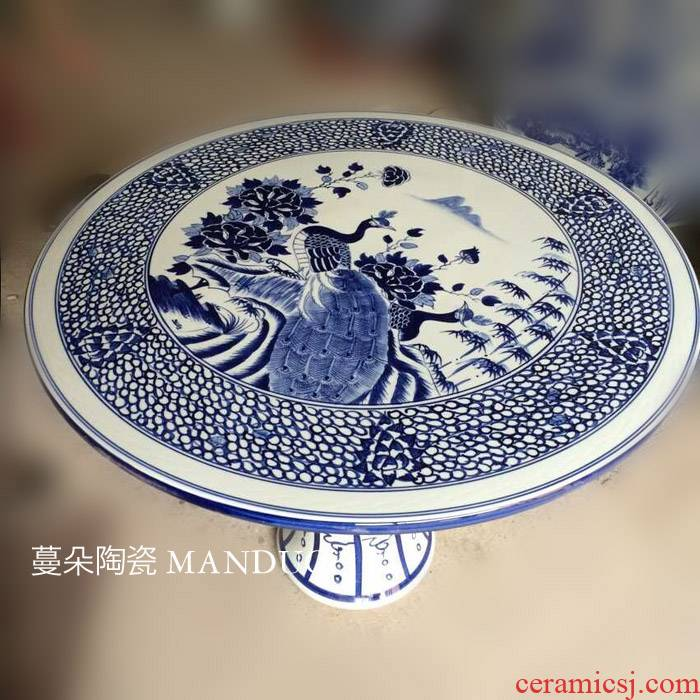 Jingdezhen blue and white peacock hand - made ceramic porcelain table set, villa and courtyard is suing balcony table