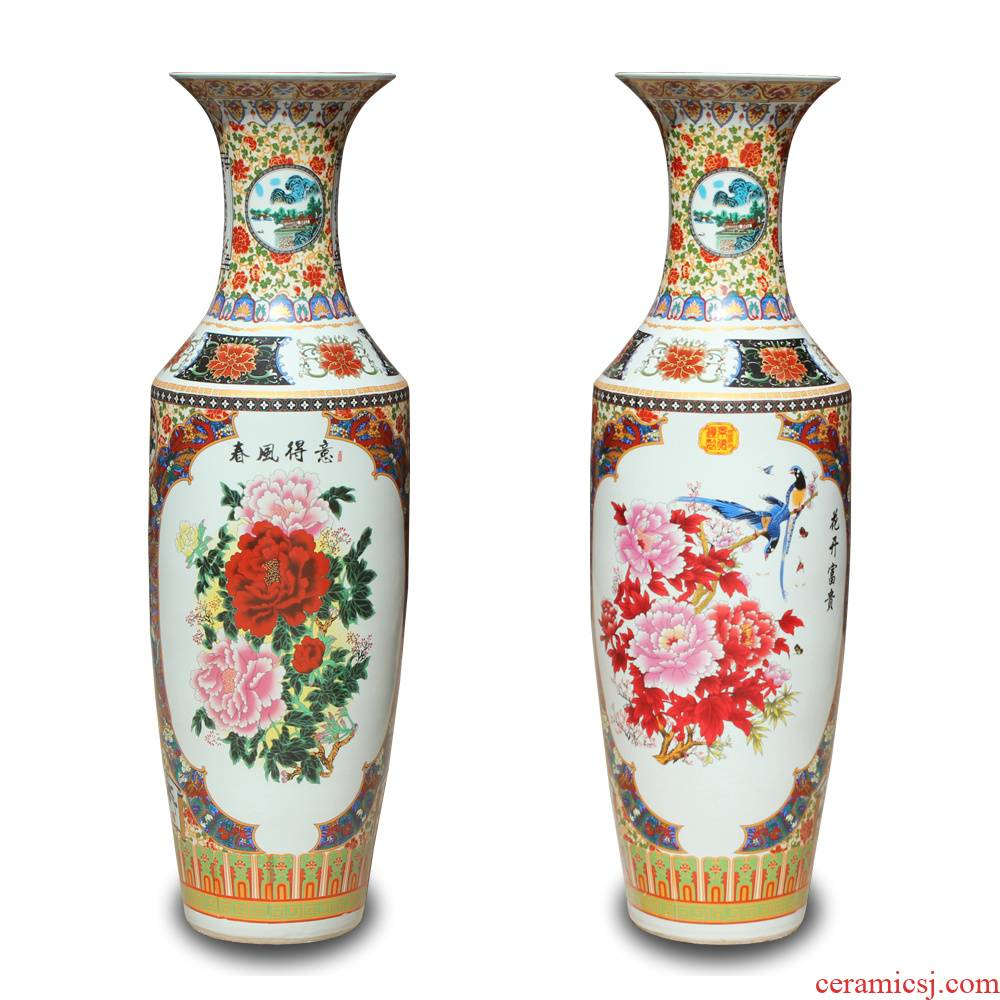 Jingdezhen ceramics powder enamel vase peony sitting room of large Chinese spring in his sitting room adornment is placed