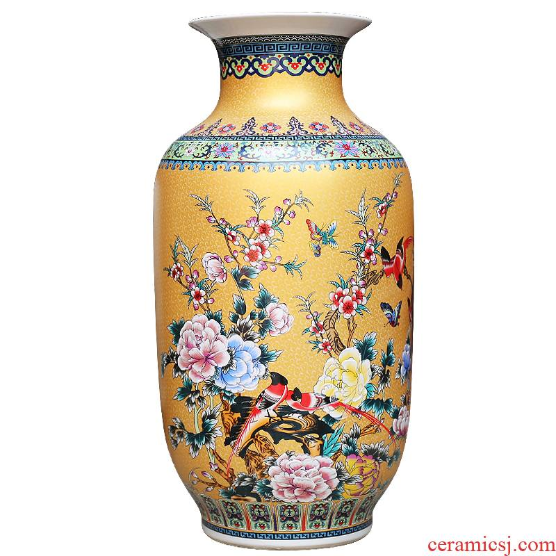 Modern Chinese jingdezhen ceramics sitting room adornment enamel decorated TV ark, furnishing articles of large vase