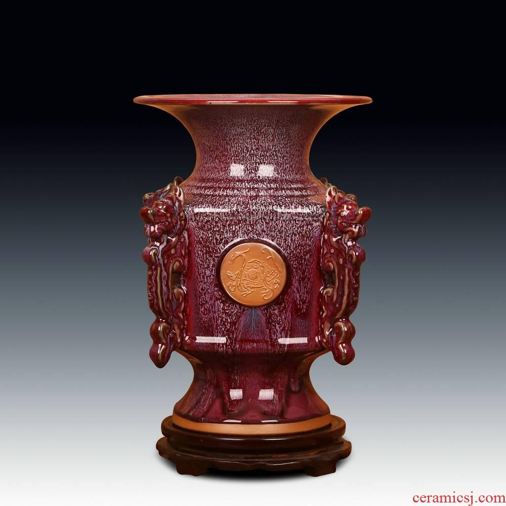 Jingdezhen ceramic vase archaize of jun porcelain up dragon ruyi vase Chinese style decoration crafts are set