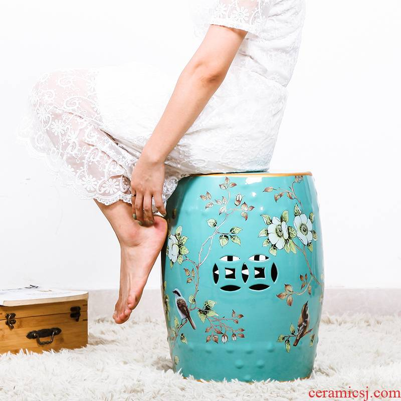 Rural Chinese jingdezhen ceramic drum who hallway in American shoe bench sitting room home embroidered pier home furnishing articles