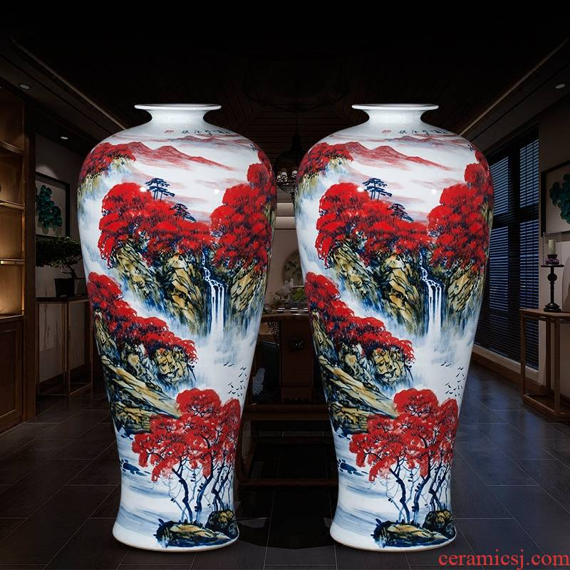 Jingdezhen ceramics vase of large furnishing articles home sitting room adornment of Chinese style red hand draw pastel landscape