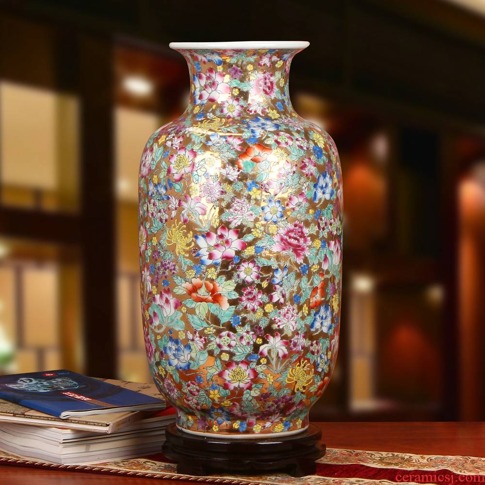 Jingdezhen ceramics upscale boutique hand - made enamel Mosaic gold bottom than yellow flower peony branch of large vase