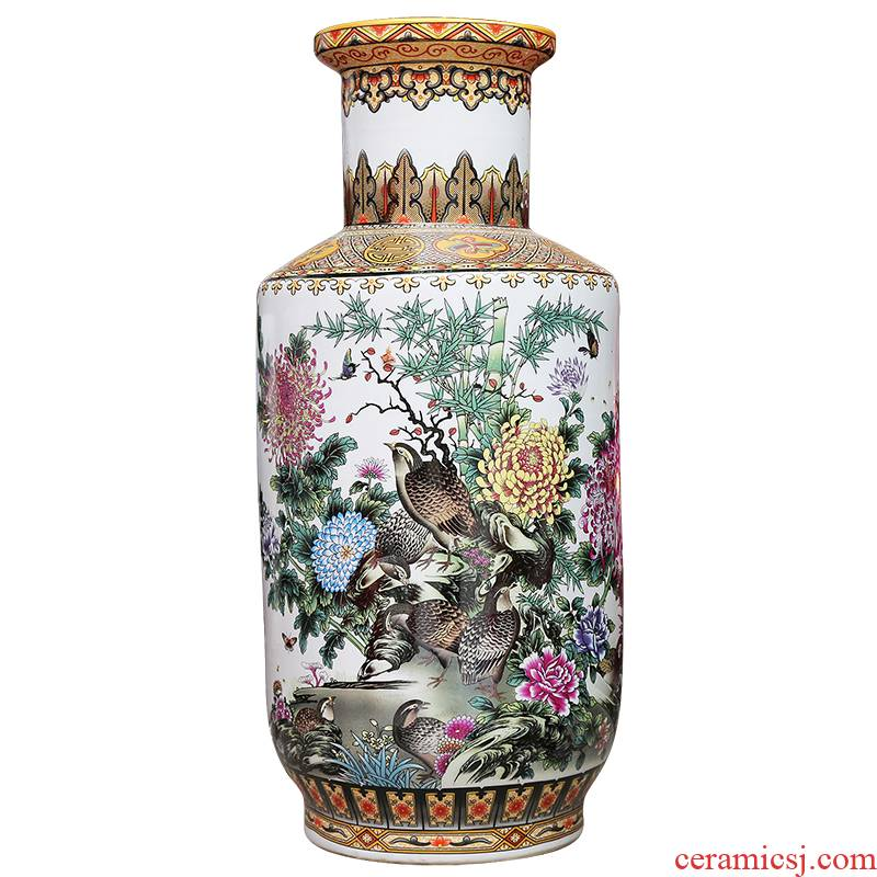 Jingdezhen ceramics powder enamel vase modern home sitting room adornment handicraft to live and work in peace and contentment landing place