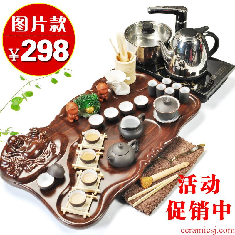 Beauty cabinet kung fu purple sand tea set home tea tray of a complete set of four unity induction cooker ceramic cups of tea is the tea taking