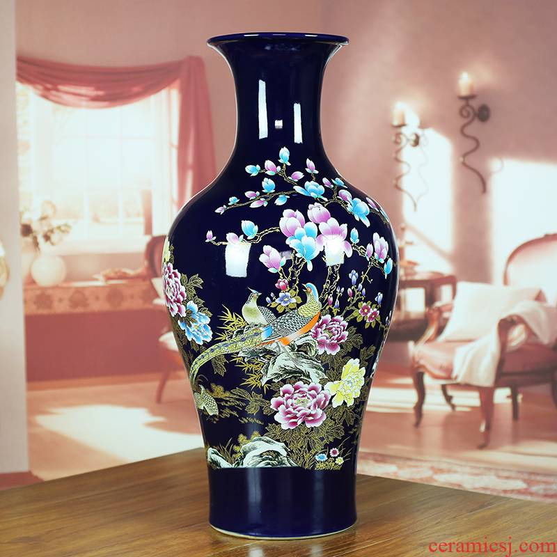 Jingdezhen ceramic vase ji blue glaze painting of flowers and modern home sitting room hotel company contracted classic Chinese style furnishing articles