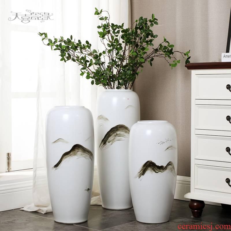The sitting room of large ceramic vase modern American zen simulation flower arranging hotel furnishing articles TV ark, household decoration