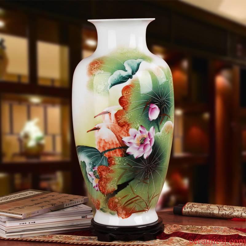 Famous hu, jingdezhen ceramics vase upscale gift porcelain hand - made pastel pure lotus egrets vase