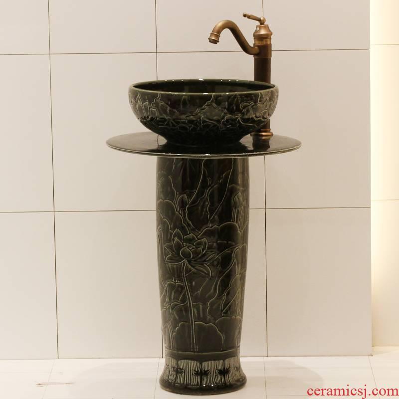 The rain spring basin of jingdezhen ceramic table column basin basin bathroom toilet lavabo balcony sink
