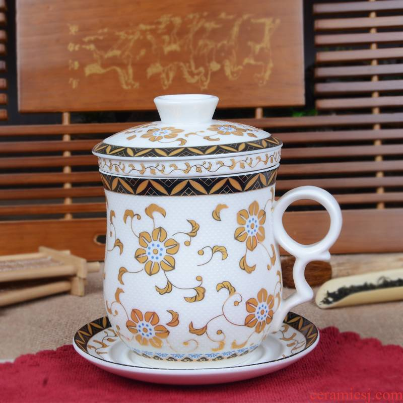 Xiang feng ceramic cups four cups with cover filter cup tea cup boss cup elegant cup meeting individual cup bo