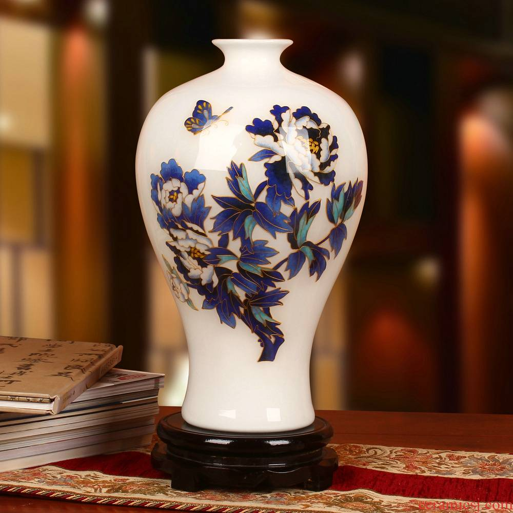 Jingdezhen ceramics vase gold white blue peony mei bottles of modern household crafts collection