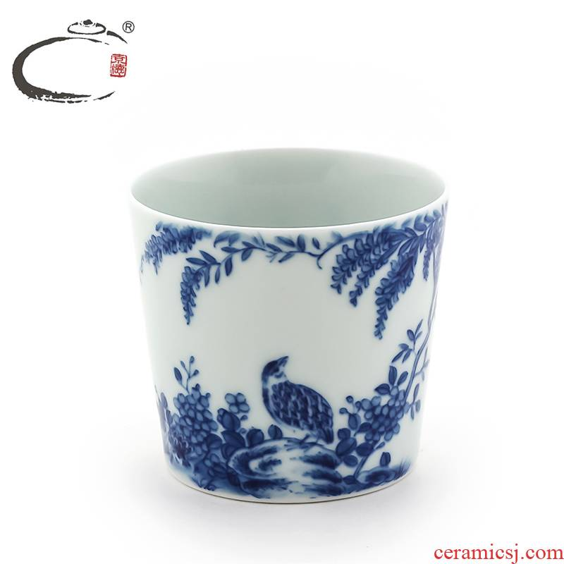And auspicious hand - made master of jingdezhen blue And white sample tea cup bucket cup bowl the technologist hand - made sample tea cup by hand