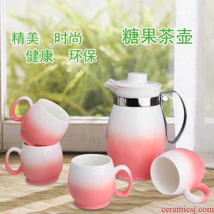 Ceramic kettle cold cold water kettle suit 5 suit tea cup with high temperature to hold the box household jugs