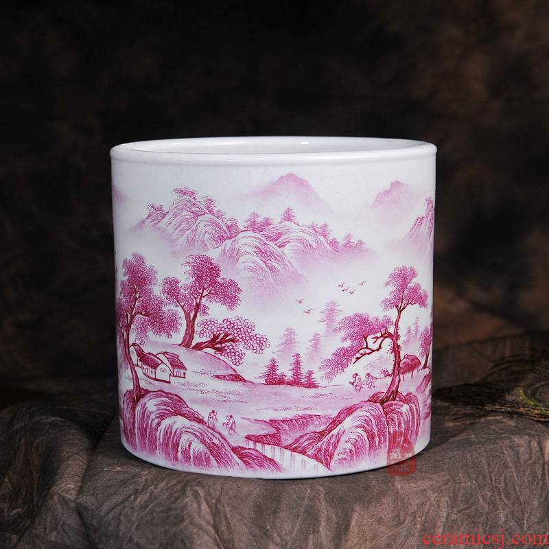 Jingdezhen ceramics archaize carmine hand - made scenery brush pot I household crafts home sitting room