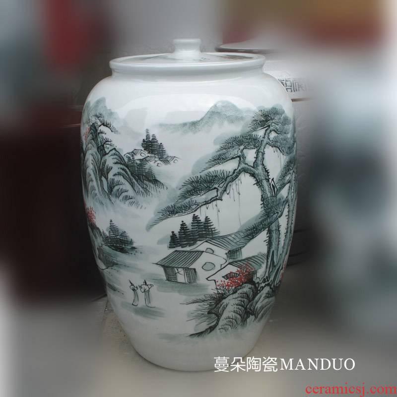 Jingdezhen idea gourd hand - made landscape porcelain pot 30-40 catty meters straight porcelain decoration tank