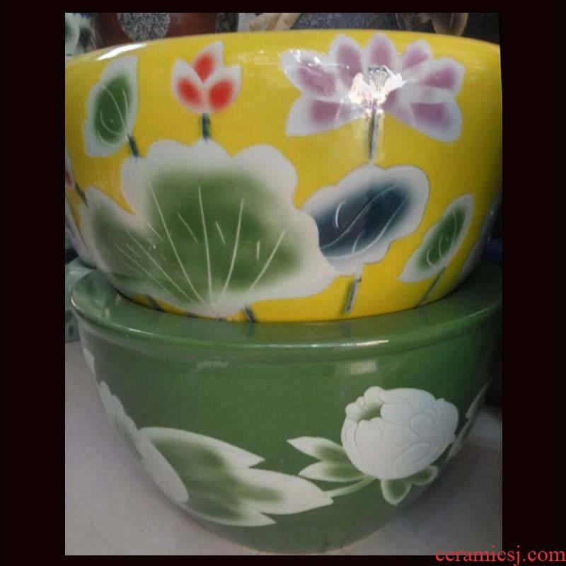 Jingdezhen porcelain ceramic painting and calligraphy art aquarium fish farming water lily cylinder cylinder cylinder art hand - made of lotus