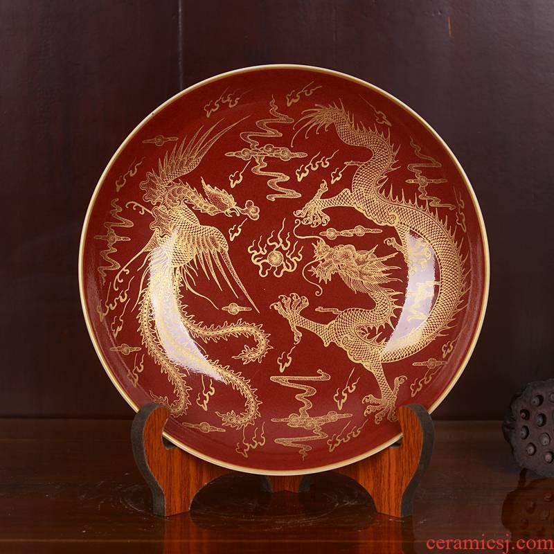 Jingdezhen ceramics imitation the qing qianlong red bottom paint longfeng lines hanging dish dish home fashion decoration decoration