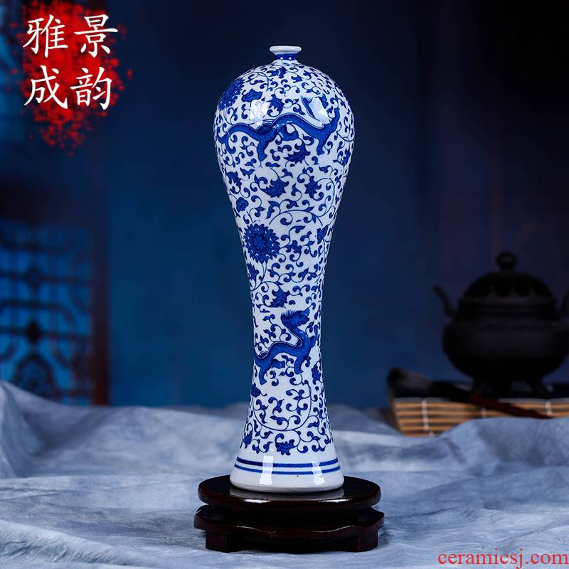 Jingdezhen blue and white vase sitting room of Chinese style restoring ancient ways chinaware coarse pottery zen gao modern home furnishing articles