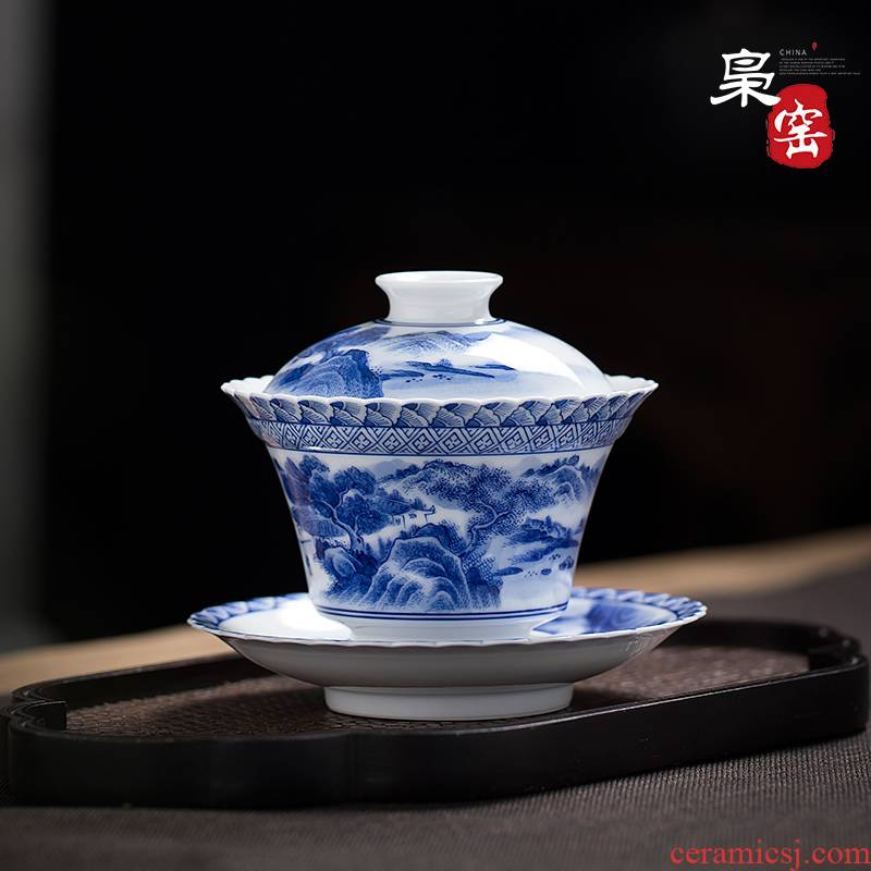 Jingdezhen ceramic tureen hand - made scenery always kung fu tea set manual blue three cups to bowl to bowl