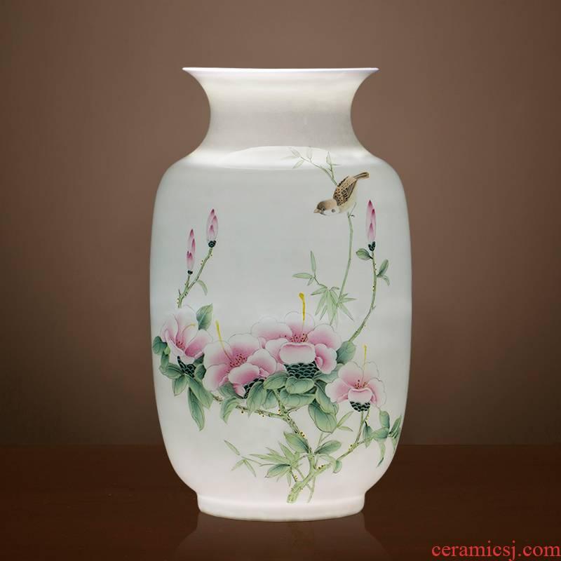 Jingdezhen ceramics famous hand - made enamel vase thin body sitting room TV cabinet decoration of Chinese style household furnishing articles