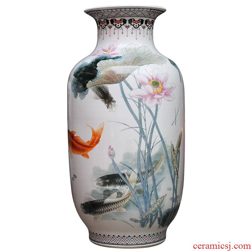 Jingdezhen ceramics powder enamel vase modern home sitting room adornment for successive years the ground hotel furnishing articles