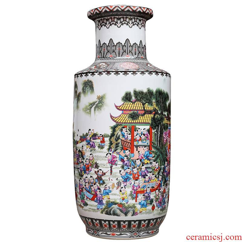 Jingdezhen ceramics powder enamel vase modern home sitting room adornment handicraft figure ground furnishing articles present the ancient philosophers