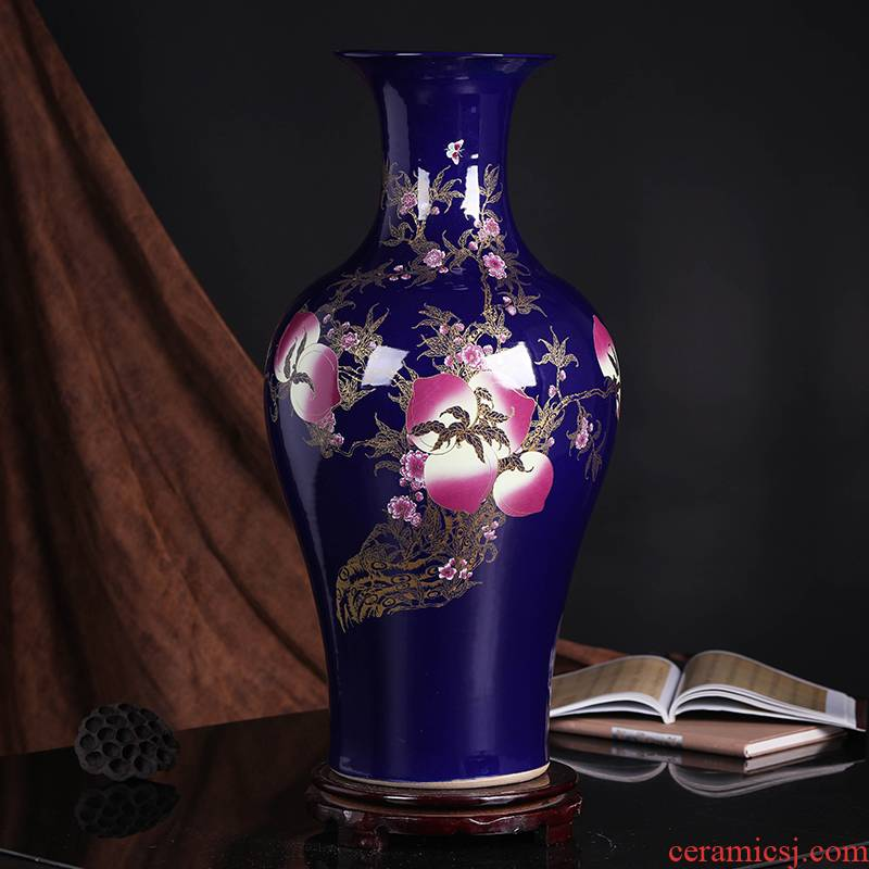 Jingdezhen ceramics large ground vase peony Chinese style household, restaurant decoration craft a new home furnishing articles