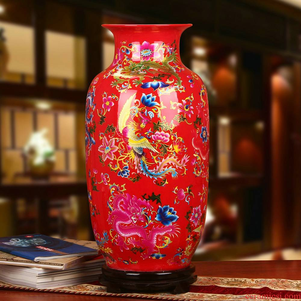 Chinese style household crystal red in extremely good fortune China jingdezhen ceramics handicraft furnishing articles of large vase