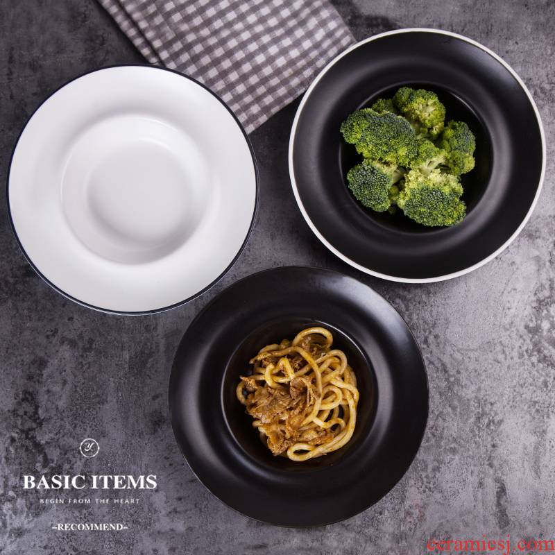 European ceramic dinner plate LIDS, contracted pasta dish plate straw plate deep salad plate west tableware bag in the mail