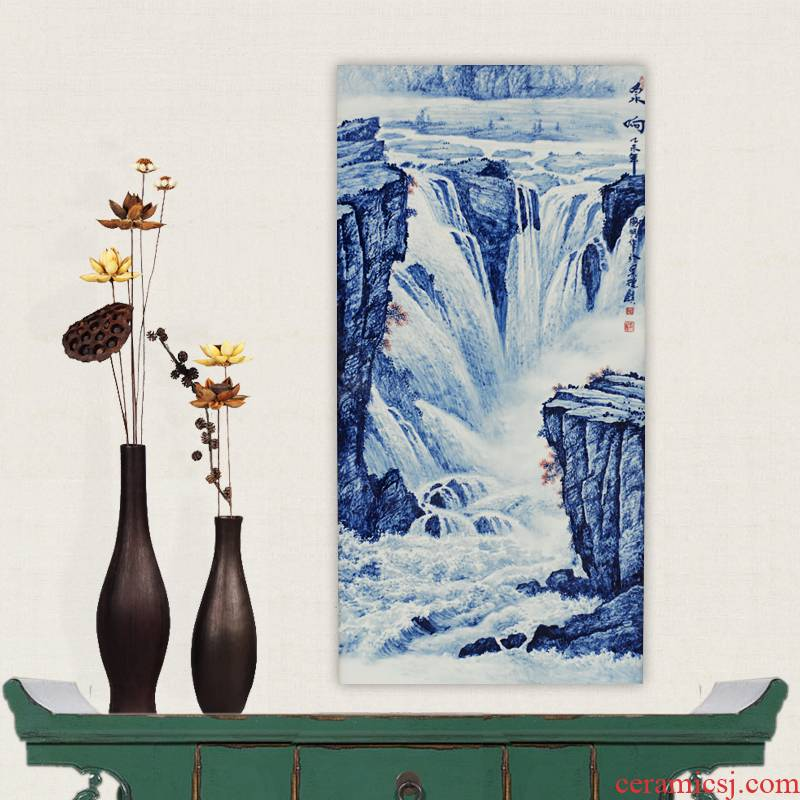Jingdezhen ceramics celebrity famous blue - and - white hand - made porcelain partition landscape fountain reaching handicraft painting murals sitting room