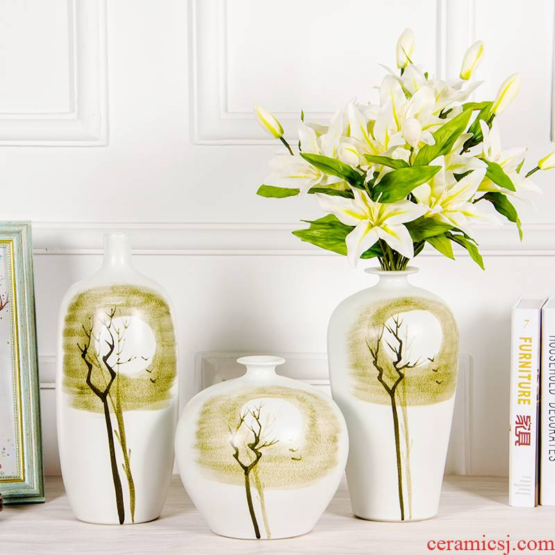 Jingdezhen ceramics new creative abstract flower vase Chinese wine sitting room porch ground home decoration