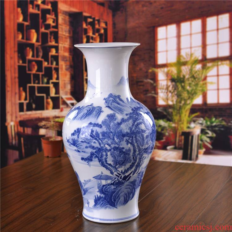 Jingdezhen ceramics landing large vases, antique landscape living room home furnishing articles of blue and white porcelain hotel decoration