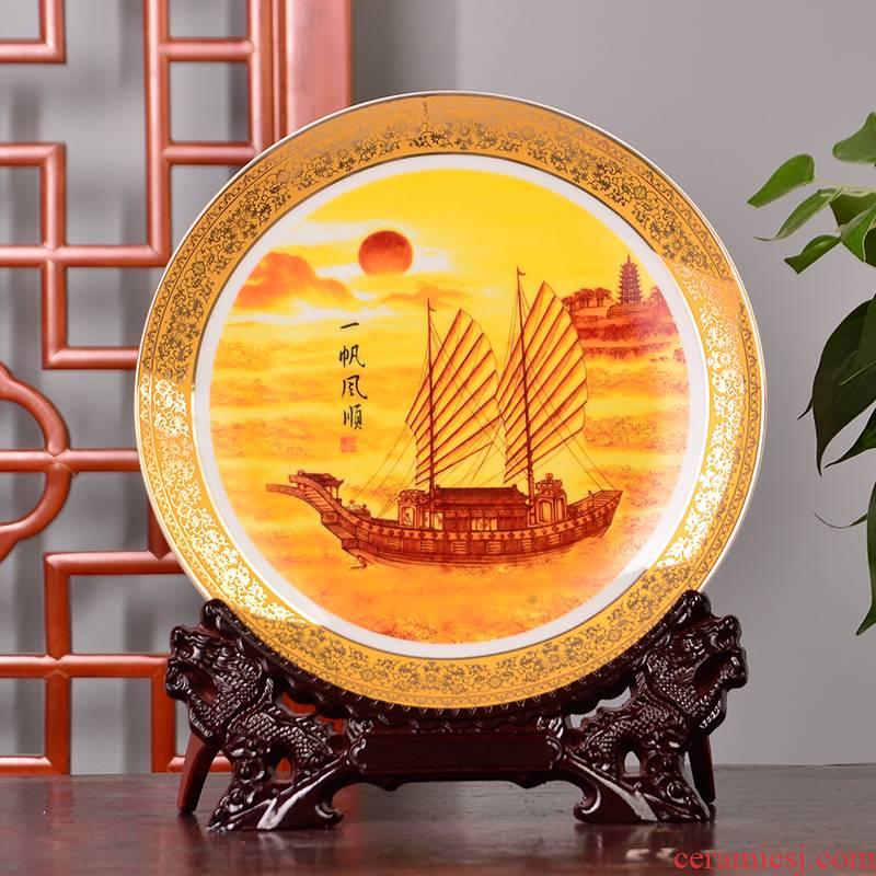 Jingdezhen ceramics decoration see colour smooth sitting room adornment furnishing articles PLATE039 hang dish plate