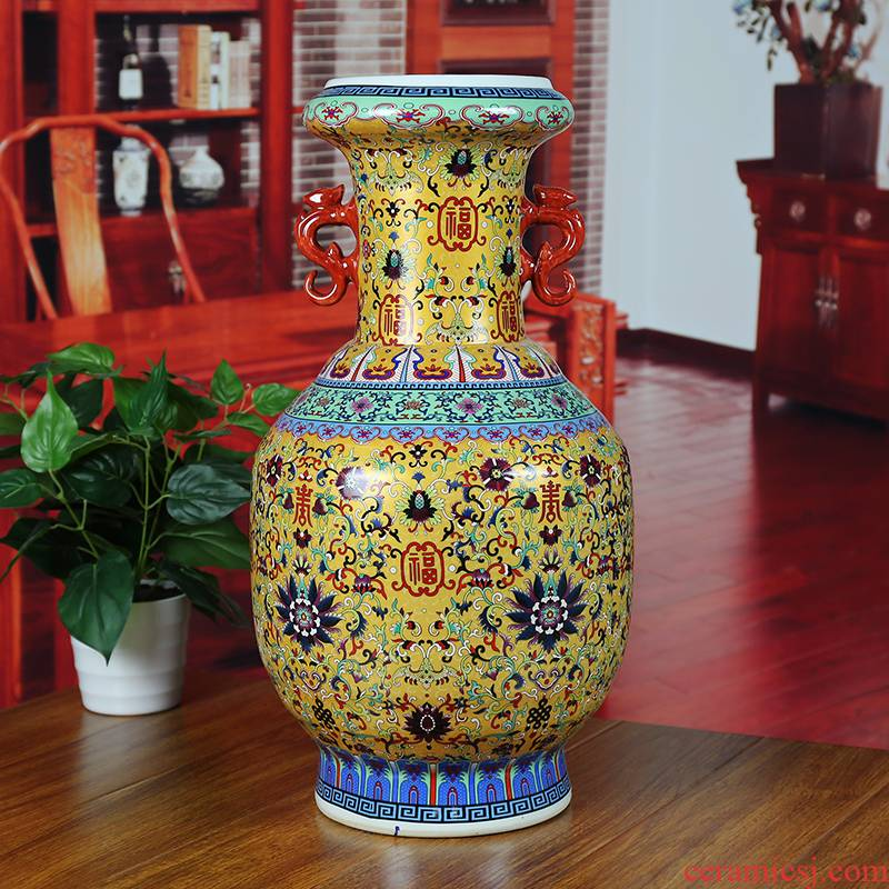 Jingdezhen ceramics colored enamel vase modern home sitting room adornment ears aureate floor company in furnishing articles