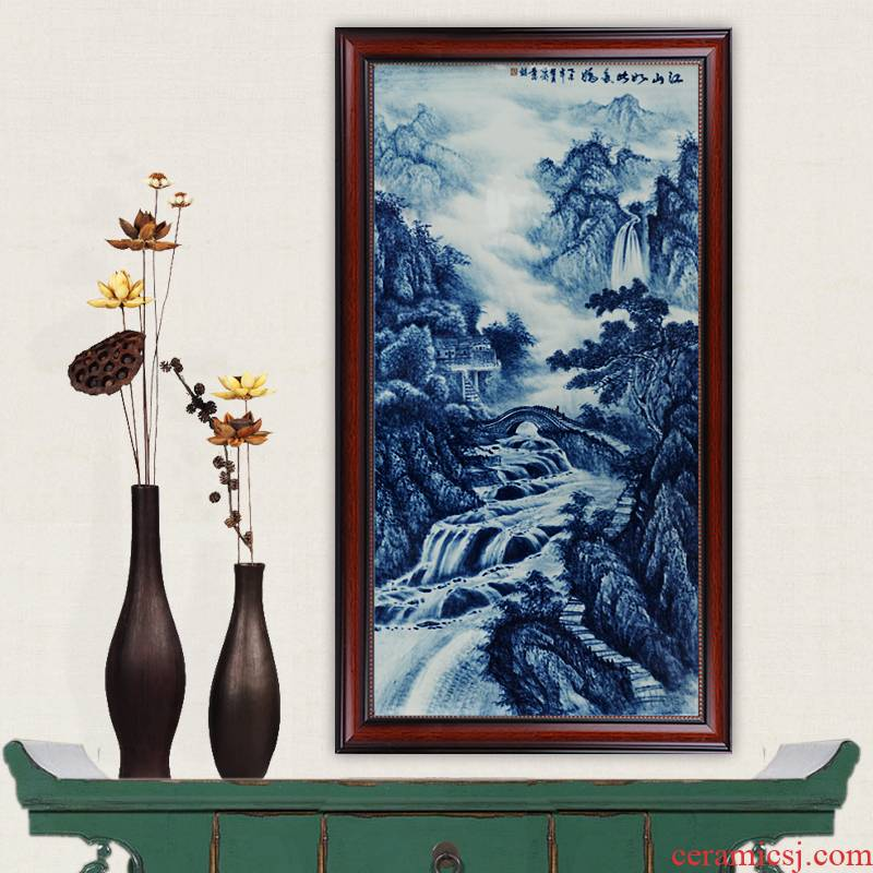 Jingdezhen blue and white porcelain masterpieces by famous writers, hand - made ceramics jiangshan painting the living room so much jiao porcelain wooden partition process