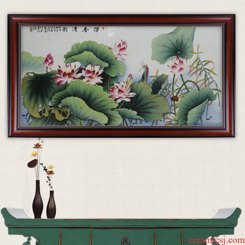 Celebrity famous jingdezhen ceramics powder enamel hand - made of lotus pond clear interesting arts and crafts porcelain plate painting murals sitting room