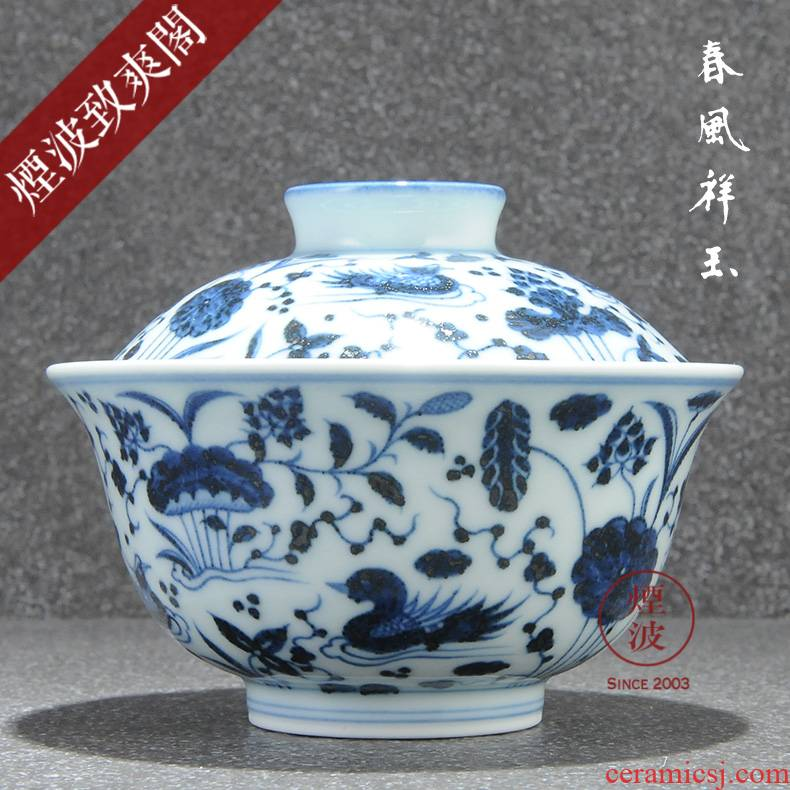 Those jingdezhen spring auspicious jade Zou Jun blue and white porcelain up system with hand - made fish grain tureen