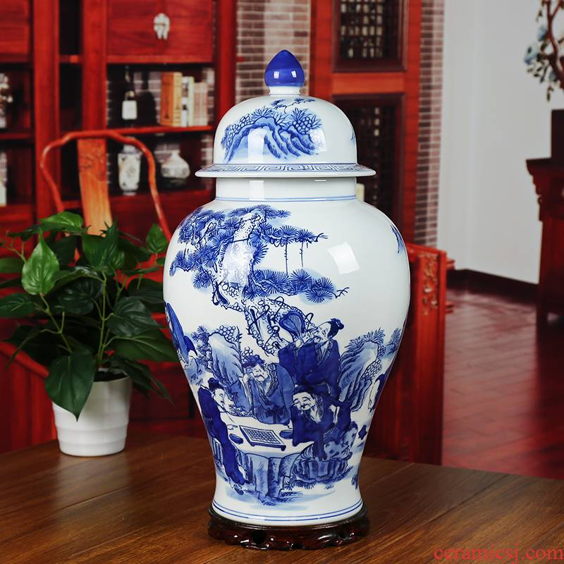 Jingdezhen ceramics large blue and white seal pot candy jar household act the role ofing is tasted furnishing articles sitting room storage tank general tank