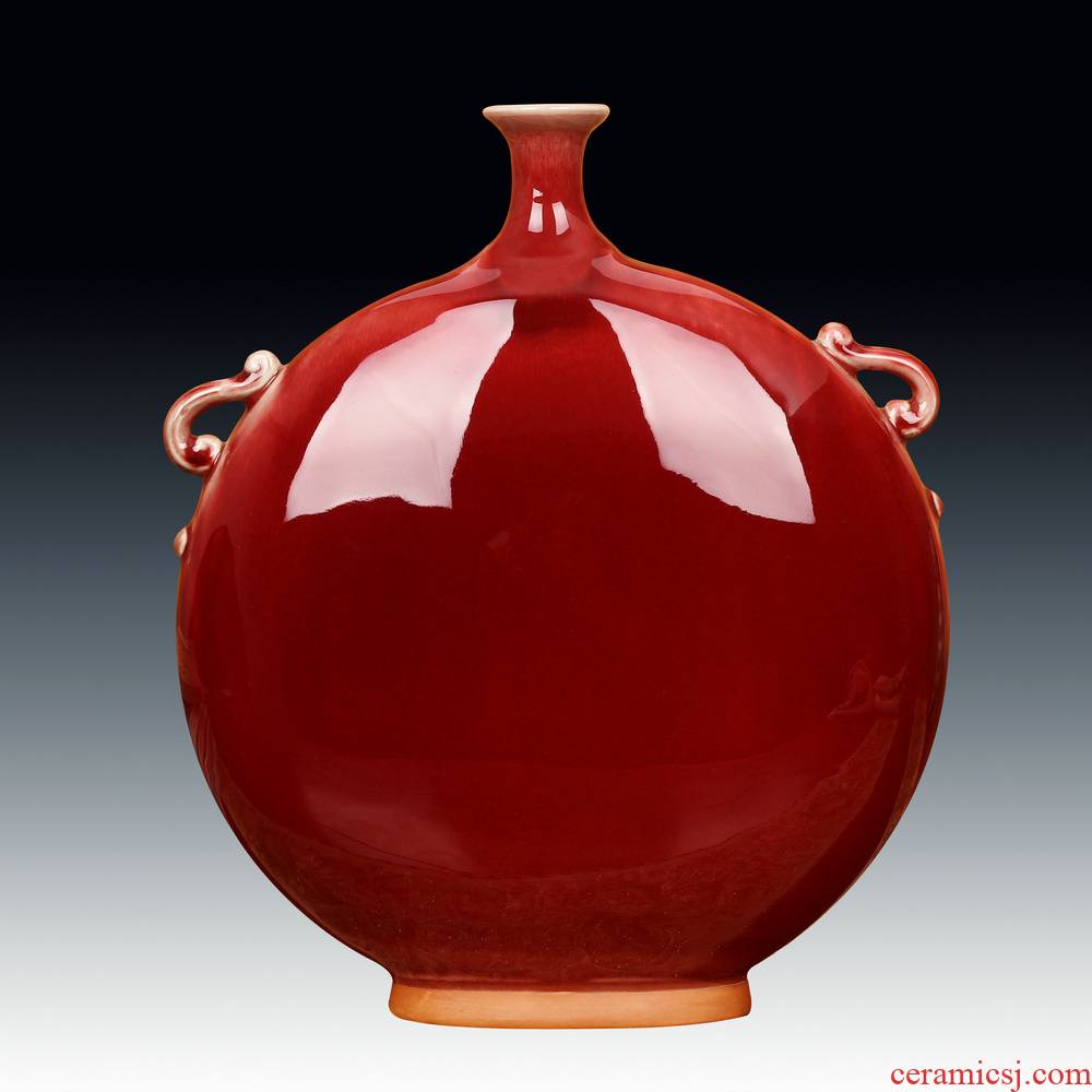 Jingdezhen ceramic vases, Chinese red archaize of jun porcelain up moonlight flat vase was Chinese style decorates furnishing articles