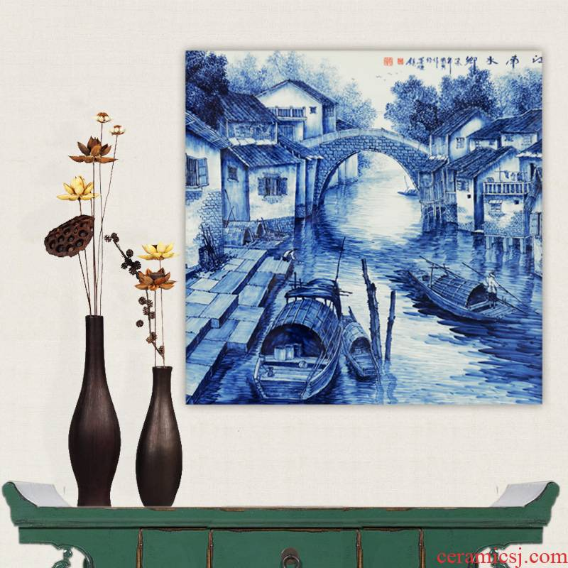 The Master of jingdezhen ceramics hand - made works jiangnan blue and white porcelain plate paintings hang wall act the role ofing high - grade home arts and crafts
