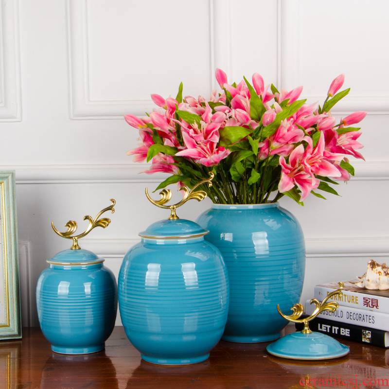 Z049 jingdezhen ceramics new Chinese style living room home furnishing articles storage tank tea pot with a lid