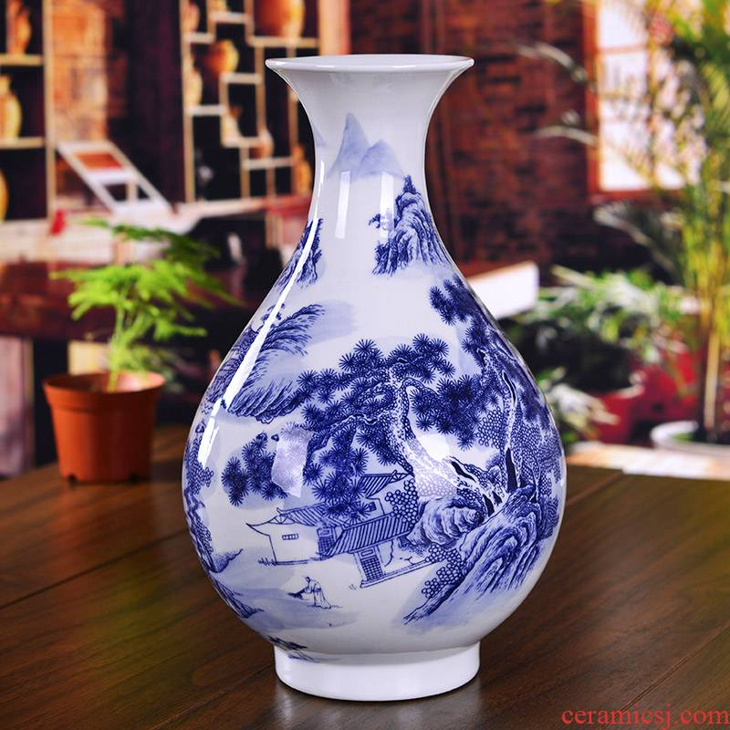 Jingdezhen blue and white porcelain ceramic vase and the sitting room of Chinese style household contracted place decoration ideas