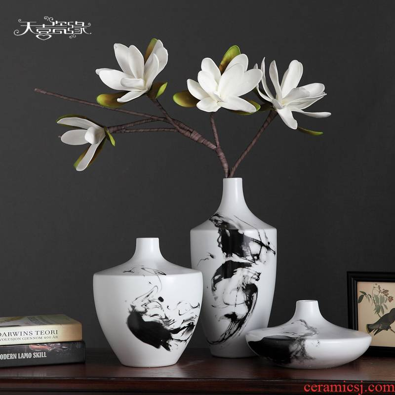 Modern new Chinese style ceramic vase three - piece creative living room TV ark of dry flower arranging porch zen furnishing articles