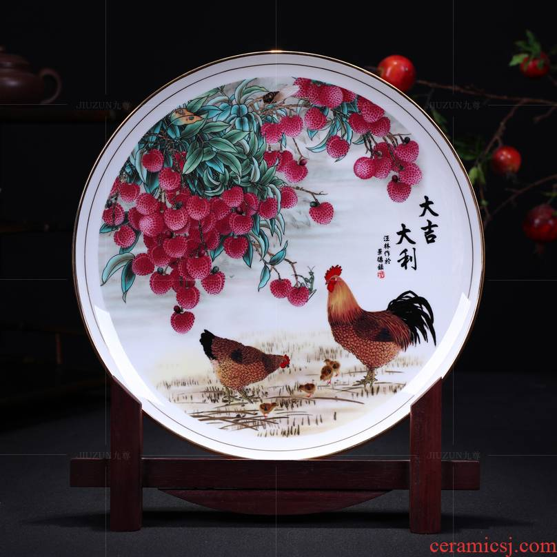 Jingdezhen ceramics decoration hanging dish see prosperous modern Chinese style living room sat dish dish handicraft