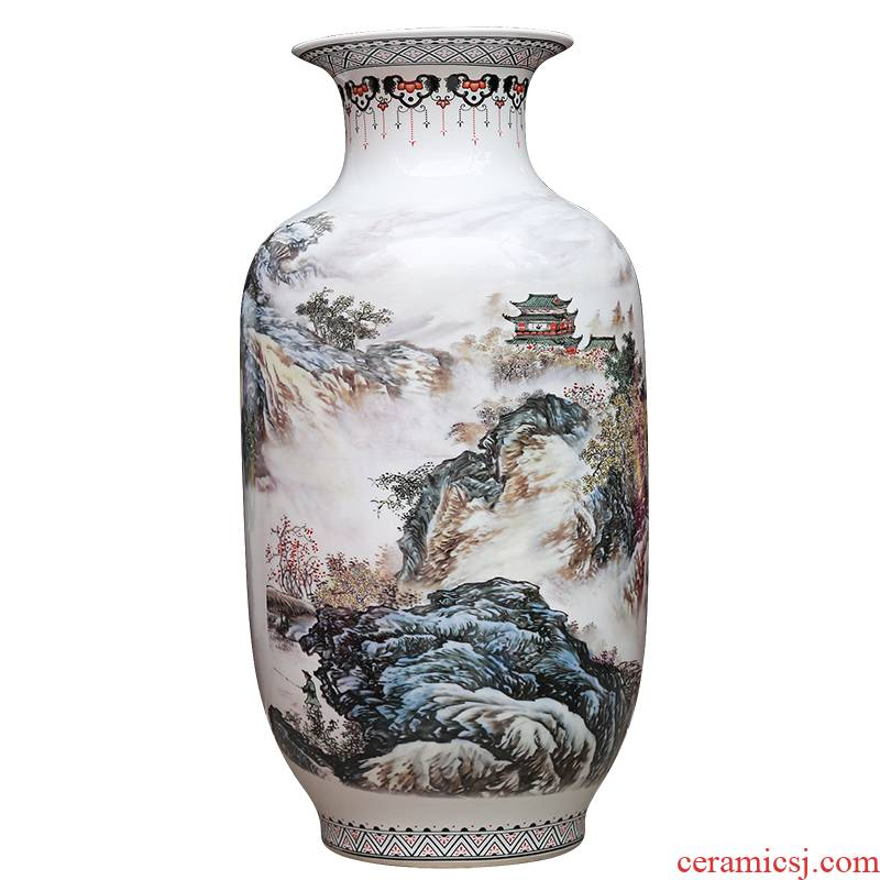 Jingdezhen ceramics powder enamel vase modern home sitting room adornment handicraft jiangnan xiuse landing place