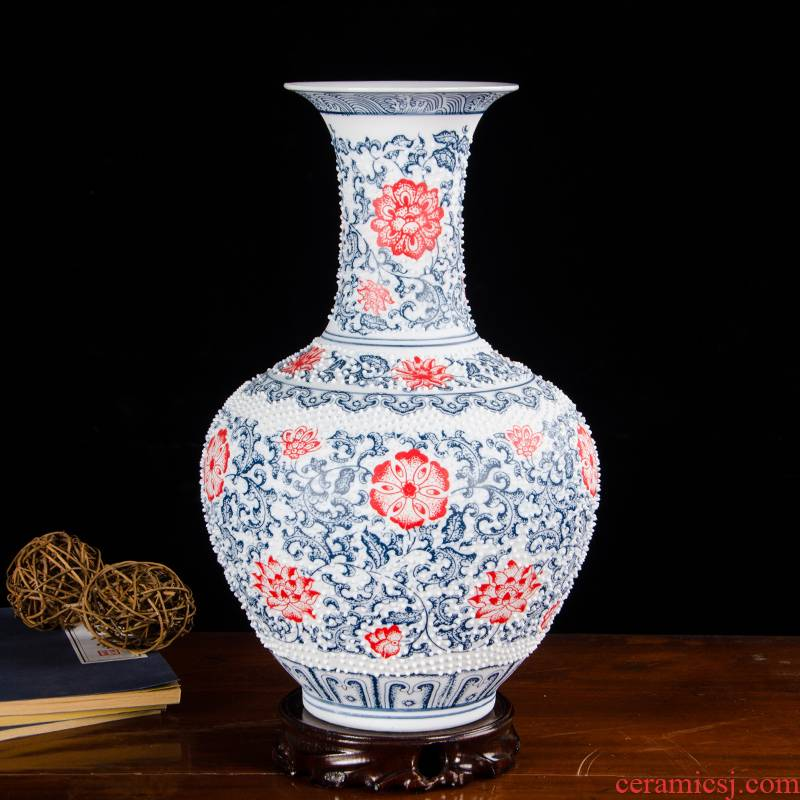 Cb120 jingdezhen blue and white porcelain vases, antique porcelain ceramics furnishing articles of Chinese style household adornment handicraft sitting room