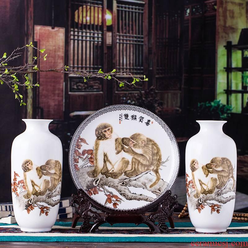 Sjt2 jingdezhen ceramics vase three - piece furnishing articles home decoration handicraft furnishing articles lulu sitting room promotion