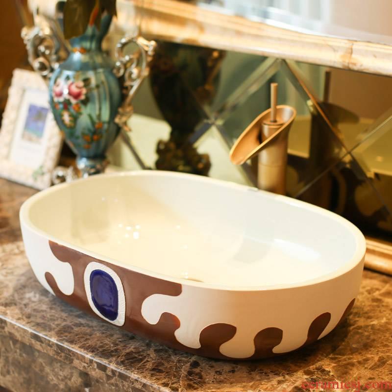 Jingdezhen rain spring basin art ceramics on the oval sink sitting lavatory toilet stage basin on the balcony