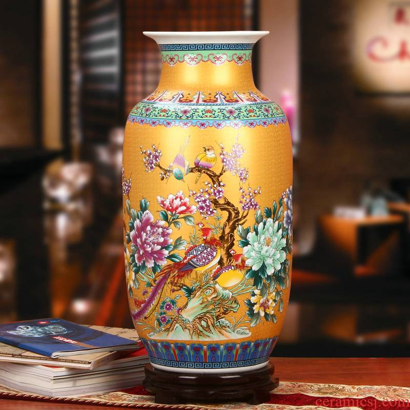 Archaize of jingdezhen ceramics colored enamel golden phoenix peony flower on large vases, modern furnishing articles